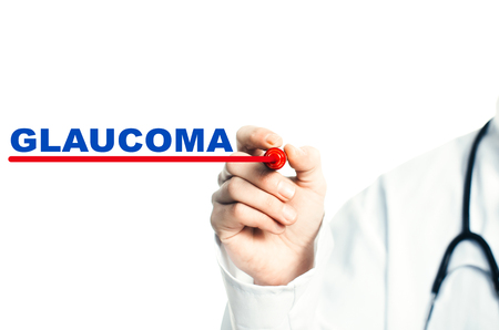 Hand draws a red line marker, emphasizes the important inscription medical GLAUCOMA Stock Photo