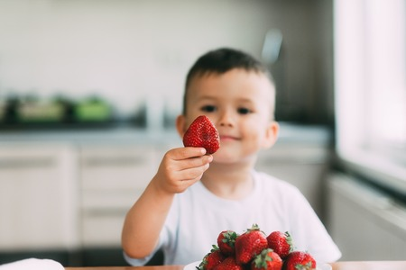 a charming child in a white t-shirt eats fresh homemade strawberries from the garden