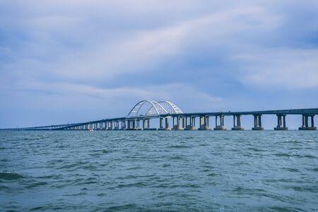 Crimean bridge view from the boat summer 版權商用圖片