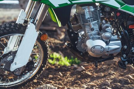 Motorcycle Enduro off-road side view of the engine and all the components clean