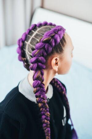 Girl with pigtails, two braids with the addition of artificial purple material cool