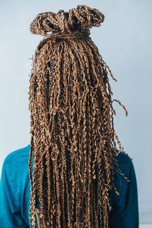 Afro-couettes Zizi coiffure petites nattes beaucoup de dos marron, fille Banque d'images