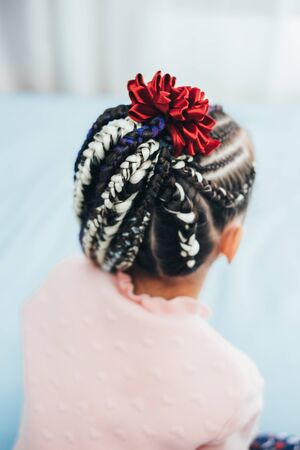 Little girl with afropricheskoy few braid braided with PU material with different color cool