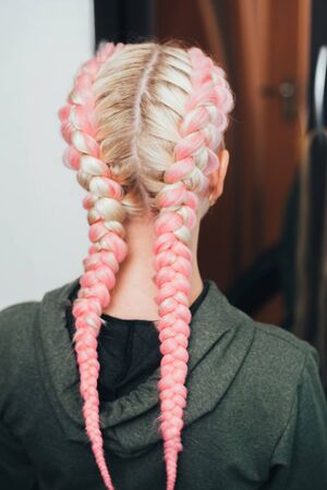 Girl with pigtails, two braids with the addition of artificial material in pink cool 版權商用圖片