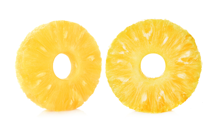 Slices of Fresh pineapple isolated on white background. 免版税图像