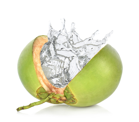 Green coconut with water splash isolated on white background. Reklamní fotografie - 104648593
