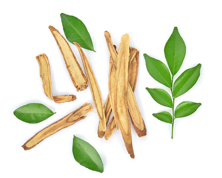 Top view of Slice Licorice roots on white background Stock Photo