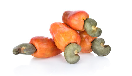 Red cashew fruit isolated on white background Stock Photo