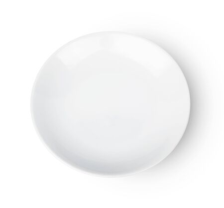 empty plate isolated on white background,Top view