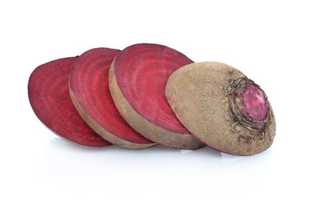 Slice fresh beetroot isolated on white background