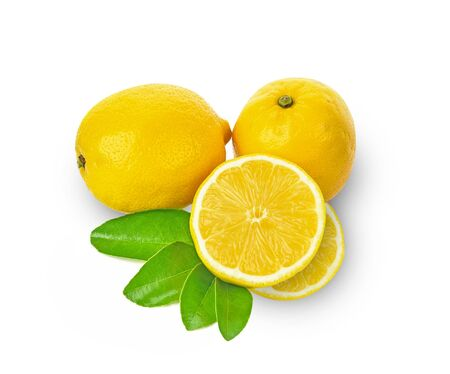 Top view of lemon isolated on white background