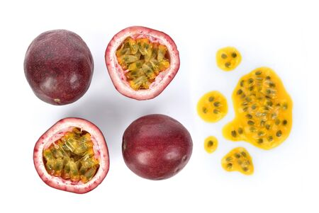 Top view set of Passion fruit isolated on white background Reklamní fotografie