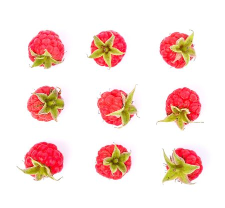 Top view set of Raspberries isolated on white background