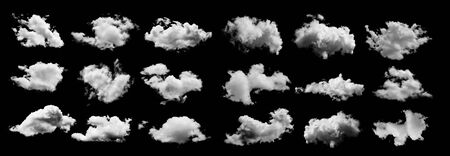 set of Clouds on black background
