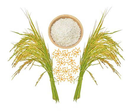 Top view of rice grains isolated on white background