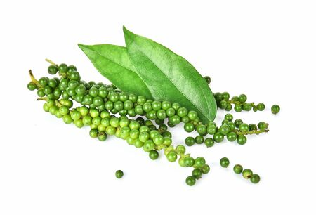 Fresh green peppercorns isolated on white background.