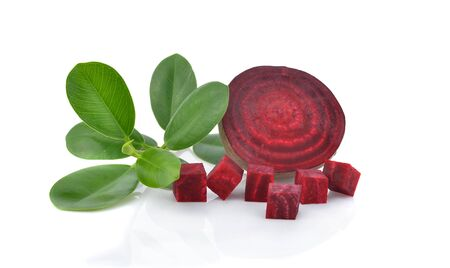 Beetroot ,ripe beetroot and green leaf isolated on white background