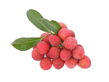 Clouse up of lychee and green leaf isolated on white background