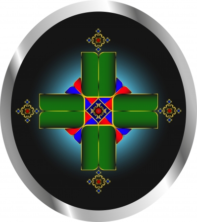 hanedan arması: karanlık bir arka plan üzerinde bir haç gibi güzel sembol Çizim