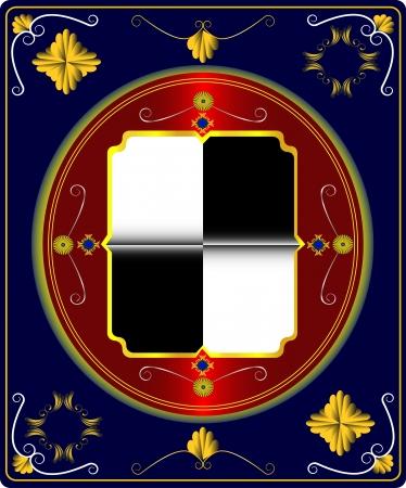 armorial: Vintage shield emblem on darkly blue background