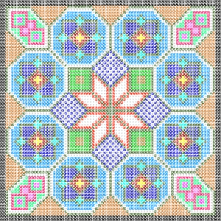 different figures: folk patterns as a mosaic from different figures Illustration