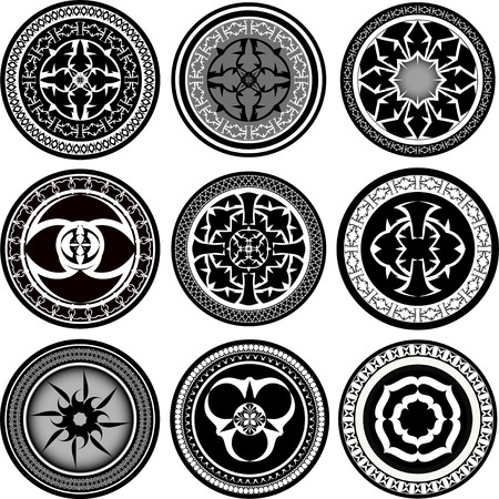 used ornament: Set of round ornament pattern hand drawn. Ornament it can be used as a tattoo design Stock Photo
