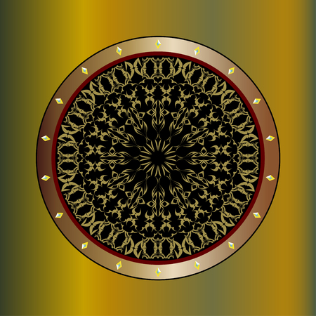 asian and indian ethnicities: Round decorative elements with yellow stones. Hand drawn background.