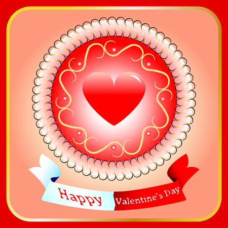 intent: Valentines Day background with hearts and red ribbon and white Illustration