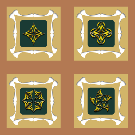 intent: Set of design decorative element. Art Deco Template design