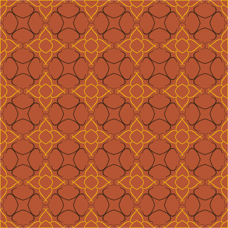 reiteration: Vintage pattern of various shapes on red background  Seamless grill for wallpapers and background.