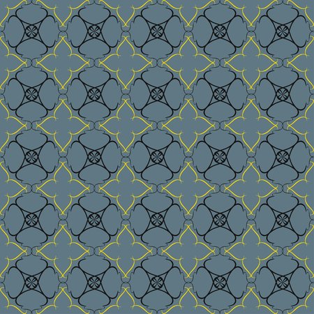 reiteration: Vintage pattern of various shapes on gray background  Seamless grill for wallpapers and background. Illustration