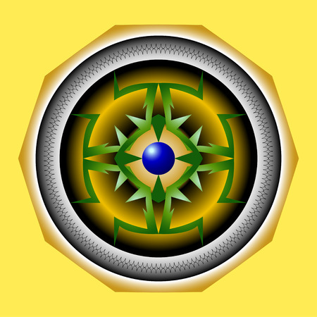 intent: Abstract pointed shape on a yellow background and blue ball in the middle