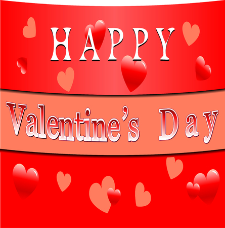 intent: Happy Valentines Day Card .Text and Hearts on a red background.