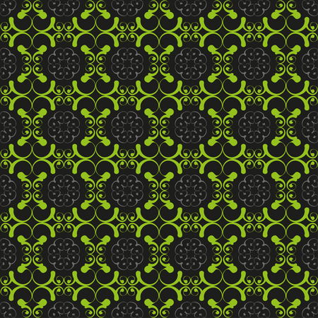 reiteration: Vintage pattern of various shapes with curves on black background  Seamless pattern for wallpapers and background. Stock Photo