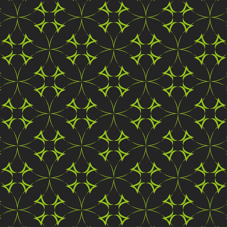 reiteration: Seamless pattern of green circles in a cross-shaped figures on a black background Illustration
