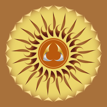metallic  sun: Round figure in the form of a stylized sun with abstract metallic triangle in the middle