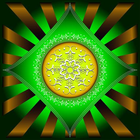 round brilliant: White round abstract figure on a background a green rhombus and going away brilliant rays Illustration