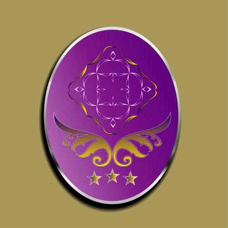 ellipse: Violet ellipse with reflection and silver frame Illustration