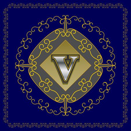 graceful: Monogram design elements graceful template.  Letter emblem V for  business card, boutique, hotel, heraldic, jewelry.