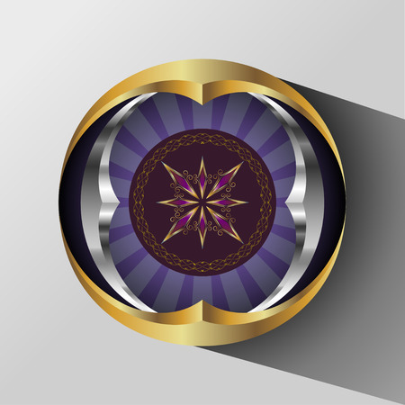 intent: Abstract round shape consisting of gold and chrome circles with vintage sign in the middle