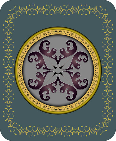 intent: Abstract round ornamental pattern in vintage style