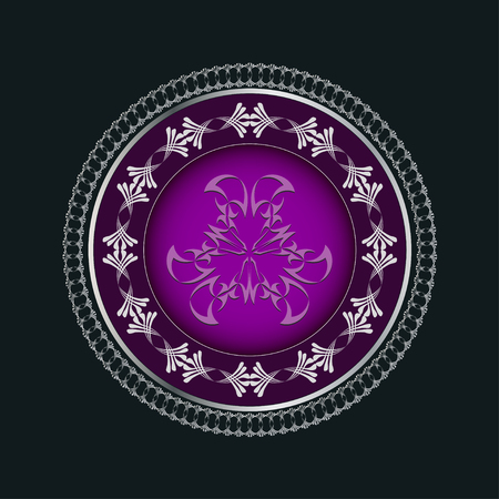 intent: Decorative violet plate with vintage abstract ethnic pattern
