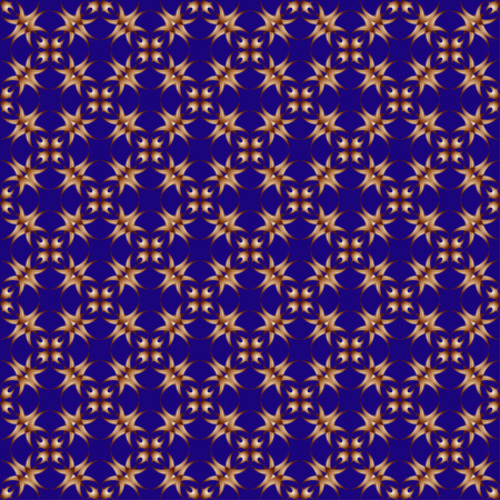 convexity: The pattern with decorative ornament in vintage style on blue background