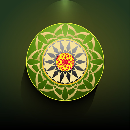 Decorative round figure with abstract ethnic pattern
