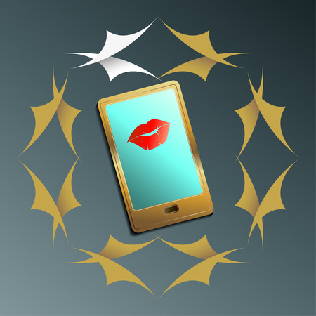 Smartphone with womens lips on the screen and in a frame of leaves symbolizing Posts Illustration