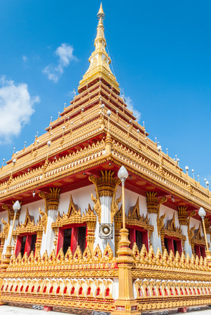 cleared: Golden pagoda at Wat Nong Wang public temple and cleared blue sky, Khonkaen Thailand