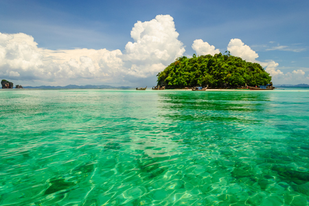 transparence: Boats Around Island In Transparence  Green Water Of The Sea Stock Photo