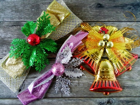 clothing: Christmas bells With a background old wood. Stock Photo