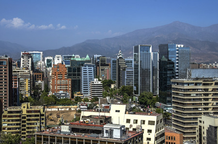 santiago: Skyline of business center in Santiago Stock Photo