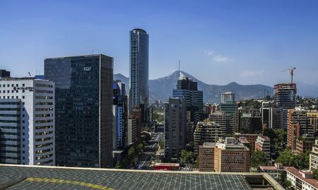 Skyline of business center in Santiago 免版税图像